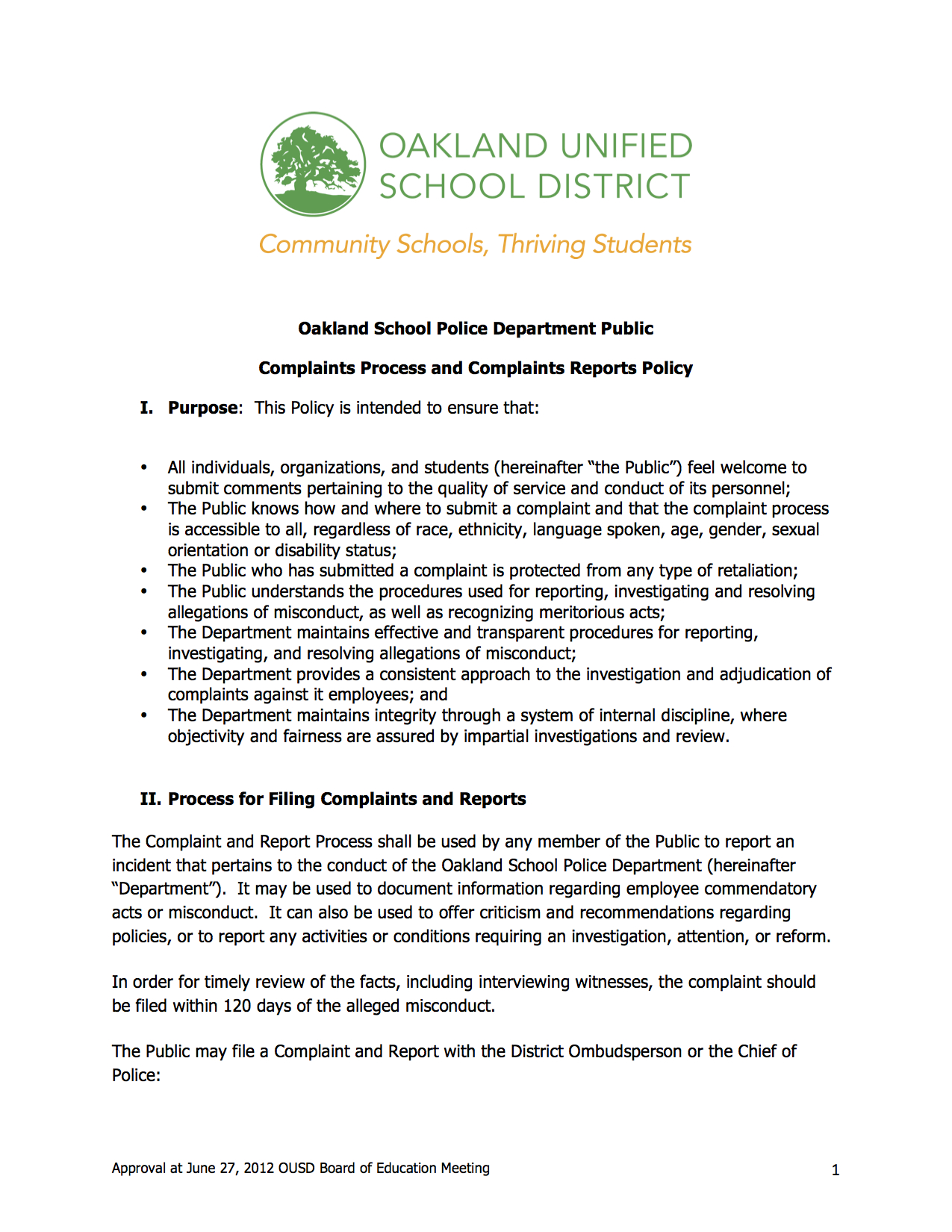 Complaints To Education Department >> Oakland School Police Complaints Process Black Organizing Project