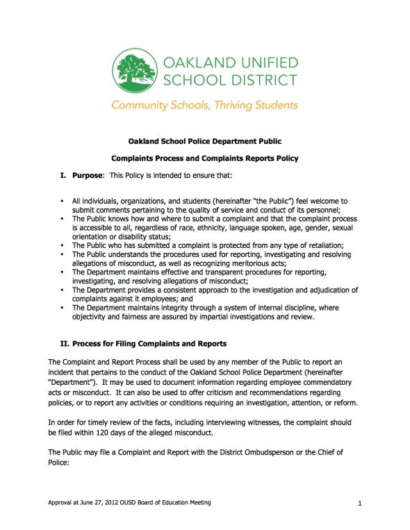Oakland School Police Complaints Process | Black Organizing Project